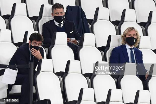 Juventus FC President Andrea Agnelli and Juventus FC vice president Pavel Nedved attend the Italian Cup semi-final second leg football match Juventus...