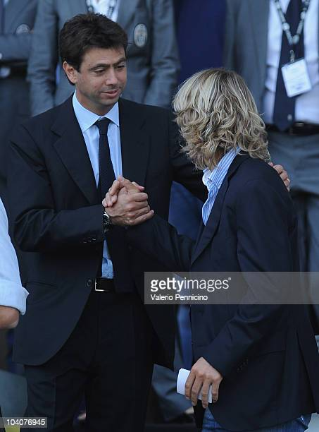 Juventus FC President Andrea Agnelli and Pavel Nedved attend prior to the Serie A match between Juventus FC and UC Sampdoria at Olimpico Stadium on...
