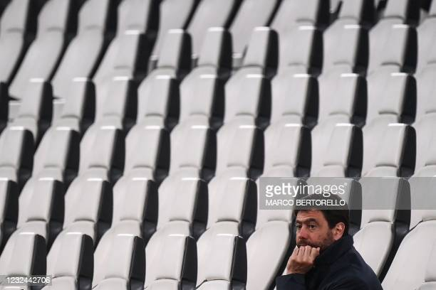 Juventus FC President Andrea Agnelli attends the Italian Serie A football match Juventus vs Parma on April 21, 2021 at the Juventus stadium in Turin....