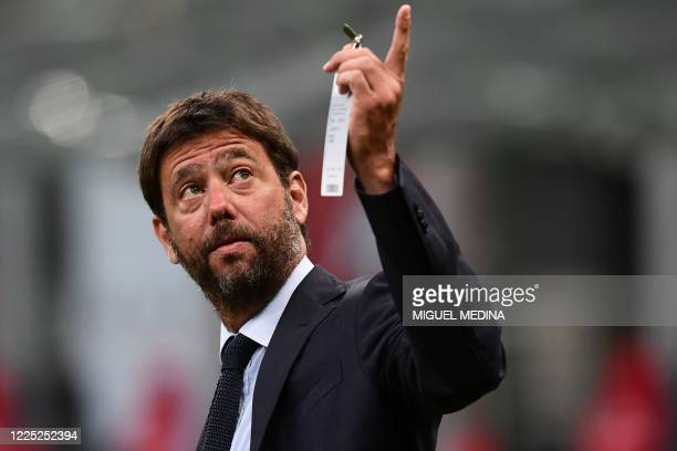 Juventus FC President Andrea Agnelli gestures prior to the Italian Serie A football match AC Milan vs Juventus played behind closed doors on July 7,...