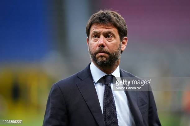 Juventus FC President Andrea Agnelli looks on before the Milan As Milanbetween Ac Milan and Juventus Fc. Ac Milan wins 4-2 over Juventus Fc.
