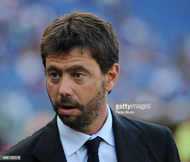 Juventus FC President Andrea Agnelli looks on during the Serie A match between SS Lazio and Juventus FC at Stadio Olimpico on August 27, 2016 in...