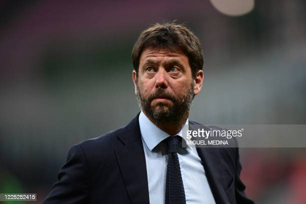 Juventus FC President Andrea Agnelli looks on prior to the Italian Serie A football match AC Milan vs Juventus played behind closed doors on July 7,...