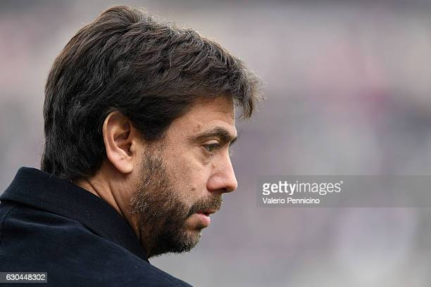Juventus FC President Andrea Agnelli looks on prior to the Serie A match between FC Torino and Juventus FC at Stadio Olimpico di Torino on December...