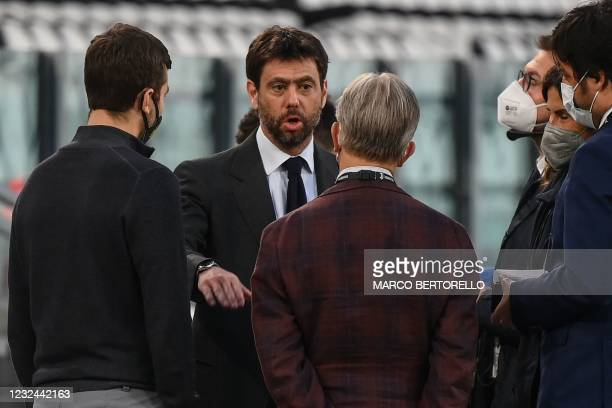 Juventus FC President Andrea Agnelli talks with Parma President Kyle J. Krause prior to the Italian Serie A football match Juventus vs Parma on April...