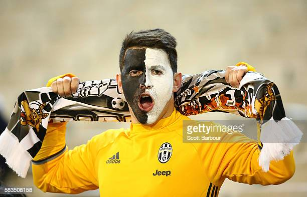 Juventus FC supporter in the crowd shows his support during the 2016 International Champions Cup match between Juventus FC and Tottenham Hotspur at...