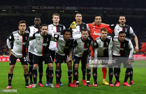 Juventus FC team line up before the Coppa Italia Semi Final match between AC Milan and Juventus at Stadio Giuseppe Meazza on February 13 2020 in...