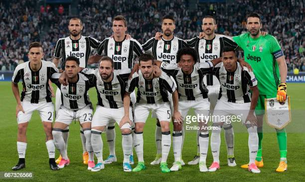 Juventus FC team line up before the UEFA Champions League Quarter Final first leg match between Juventus and FC Barcelona at Juventus Stadium on...