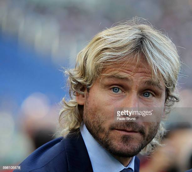 Juventus FC Team Manager Pavel Nedved looks on during the Serie A match between SS Lazio and Juventus FC at Stadio Olimpico on August 27 2016 in Rome...