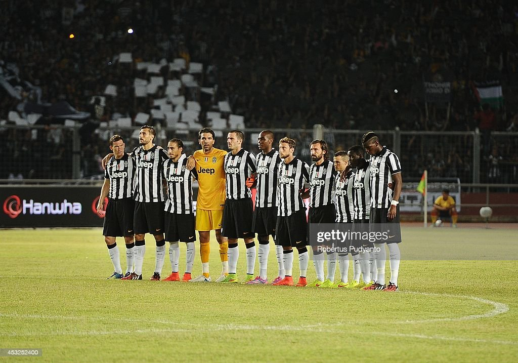 Juventus FC team prior to the pre season friendly match between Indonesia Selection All Star Team and Juventus FC at Gelora Bung Karno Stadium on August 6, 2014 in Jakarta, Indonesia. Juventus FC win the game 8-1.
