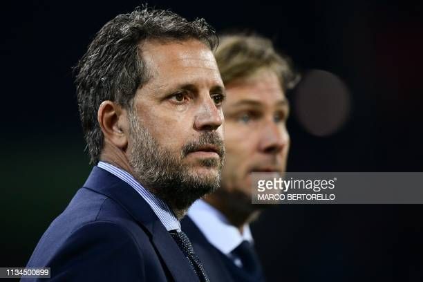 Juventus FC technical coordinator Fabio Paratici and Juventus FC vice president Pavel Nedved attend the Italian Serie A football march Cagliari vs...