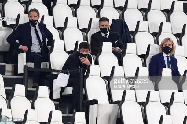 Juventus FC technical coordinator Fabio Paratici, Juventus FC President Andrea Agnelli and Juventus FC vice president Pavel Nedved attend the Italian...