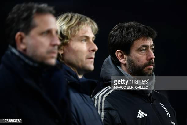 Juventus FC technical coordinator Fabio Paratici, Juventus FC vice president Pavel Nedved and Juventus FC President Andrea Agnelli attend the Italian...