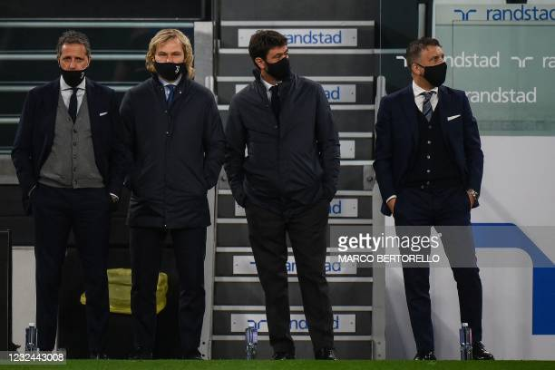 Juventus FC technical coordinator Fabio Paratici, Juventus FC vice president Pavel Nedved, Juventus FC President Andrea Agnelli and Juventus Sports...