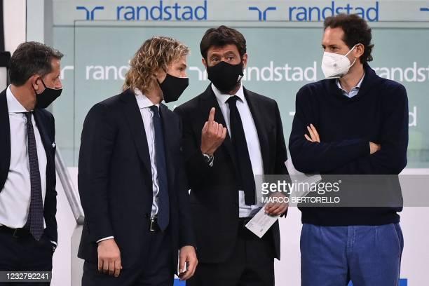 Juventus FC technical coordinator Fabio Paratici, Juventus FC vice president Pavel Nedved, Juventus FC President Andrea Agnelli and Fiat Chrysler...