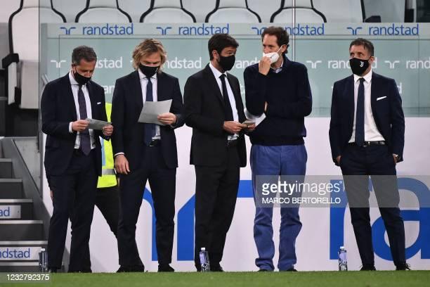 Juventus FC technical coordinator Fabio Paratici, Juventus FC vice president Pavel Nedved, Juventus FC President Andrea Agnelli, Fiat Chrysler...