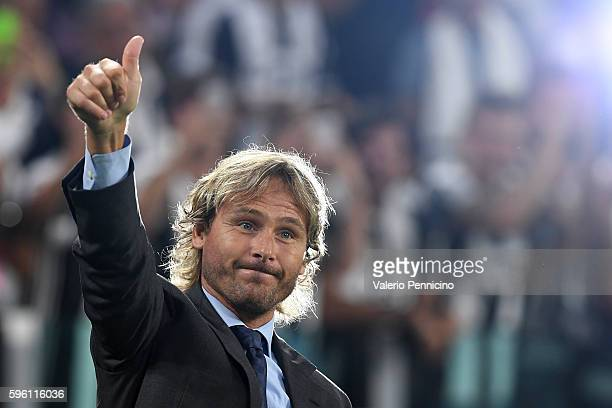 Juventus FC vice president Pavel Nedved salutes the fans during the Serie A match between Juventus FC and ACF Fiorentina at Juventus Arena on August...