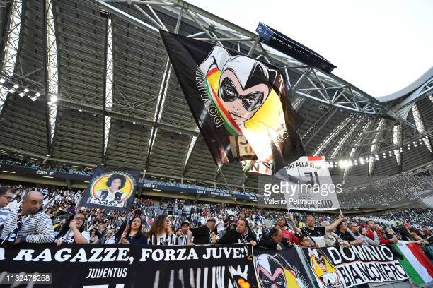 Juventus FC Women fans show their support during the Women Serie A match between Juventus Women and Fiorentina Women at Allianz Stadium on March 24...