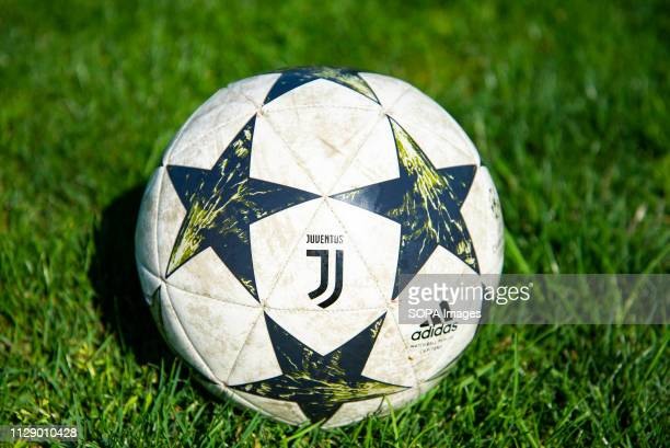 Juventus Football Club ball seen on the grass during a training