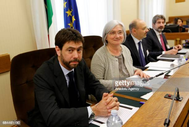 Juventus football club's president Andrea Agnelli and parliamentary Antimafia commission president Rosy Bindi prepare to attend an audition on the...