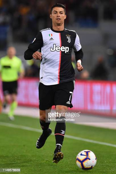 Juventus football player Cristiano Ronaldo during the match RomaJuventus at the Olimpic Stadium Rome May 12th 2019