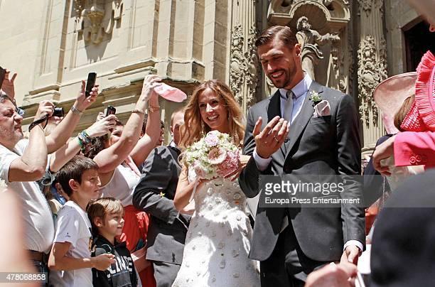 Juventus football player Fernando Llorente and Maria Lorente get married at Santa Maria del Coro Basilica on June 20 2015 in San Sebastian Spain
