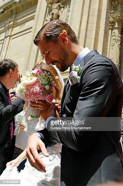 Juventus football player Fernando Llorente and Maria Lorente get married at Santa Maria del Coro Basilica on June 20 2015 in San Sebastian Spain