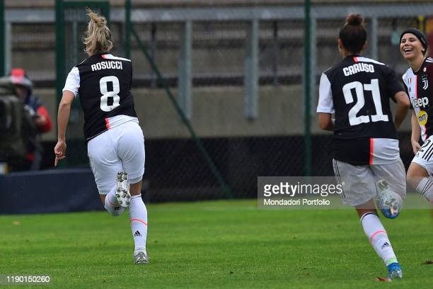 Juventus football player Martina Rosucci celebrating after score the goal during the match Roma-Juventus in the Tre Fontane stadium on November 24,...