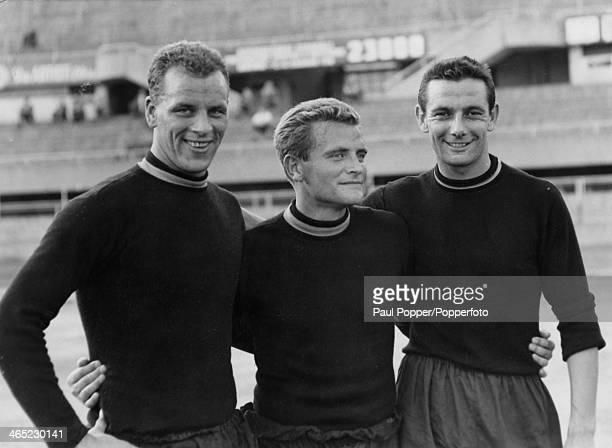 John Charles Giampiero Boniperti and Rino Ferrario Italy November 1957