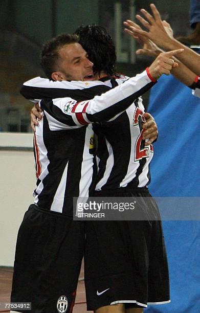 FC Juventus forward Alex Del Piero celebrates by his teammate after scoring during their Calcio football match Naples vs Juventus at San Paolo...