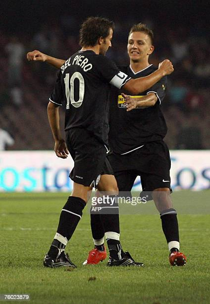 FC Juventus forward Alex del Piero celebrates with his teammate after scoring against SSC Napoli during the Moretti Trophy at San Paolo Stadium in...