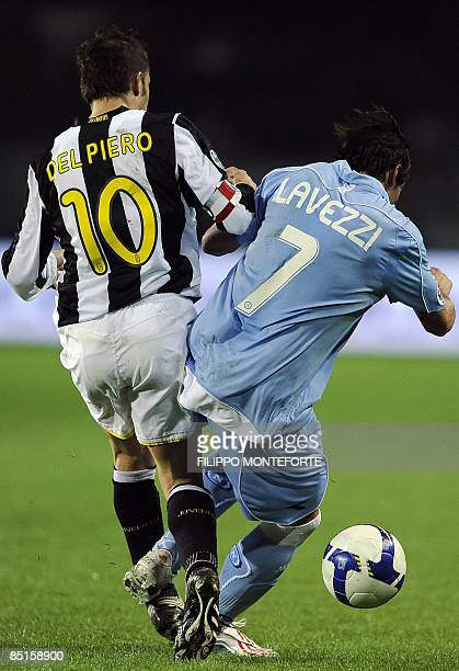 Juventus forward Alex Del Piero fights for the ball with Naples' foward Ezequiel Lavezzi of Argentina during their Serie A football match against at...