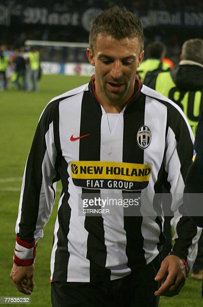 FC Juventus' forward Alex Del Piero reacts after his team's defeat against SS Napoli during their Calcio football match NaplesJuventus at San Paolo...