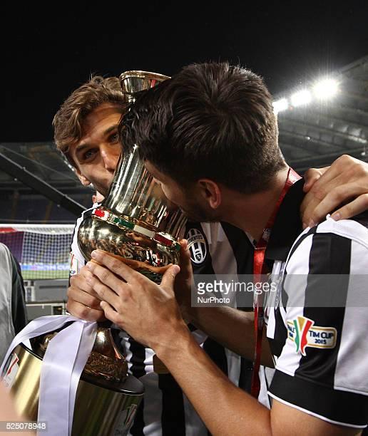 Juventus forward Alvaro Morata and Juventus forward Fernando Llorente celebrates victory after the Coppa Italia Final football match JUVENTUS LAZIO...