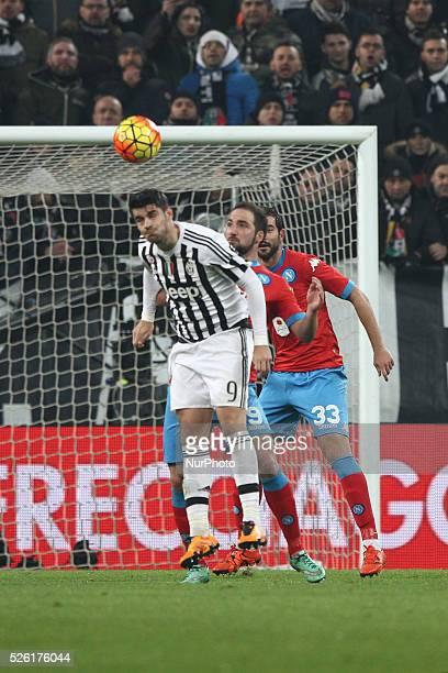 Juventus forward Alvaro Morata and Napoli forward Gonzalo Higuain heads the ball during the Serie A football match n25 JUVENTUS NAPOLI on 13/02/16 at...