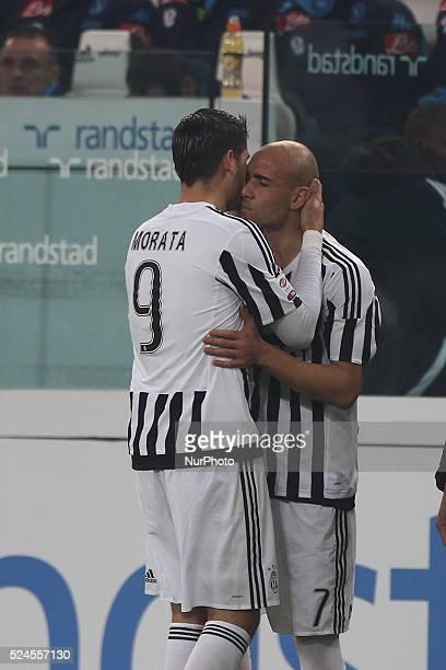 Juventus forward Alvaro Morata substituded by Juventus forward Simone Zaza during the Serie A football match n25 JUVENTUS NAPOLI on 13/02/16 at the...