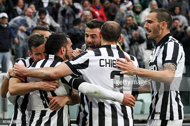 Juventus forward Carlos Tevez celebrates with his teammates after scoring his goal during the Serie A football match n28 JUVENTUS GENOA on 22/03/15...