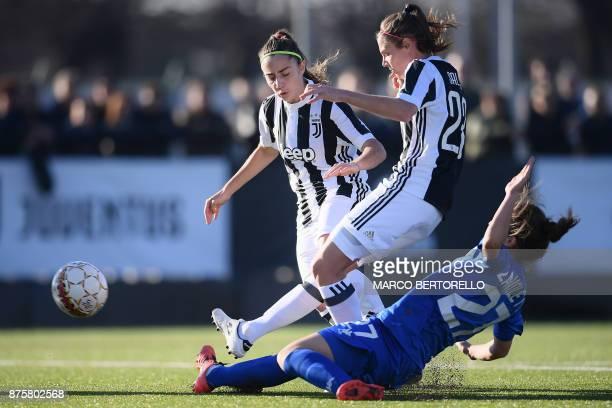 Juventus' forward Cecilia Salvai kicks the ball during the Women's Italian football match between Juventus and Sassuolo at Juventus Center on...