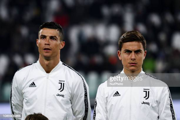 Juventus forward Cristiano Ronaldo and Juventus forward Paulo Dybala pose in order to be photographed before the Serie A football match n20 JUVENTUS...
