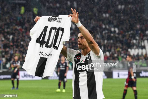 Juventus forward Cristiano Ronaldo celebrates 400 goals during the Serie A football match n11 JUVENTUS CAGLIARI on at the Allianz Stadium in Turin...