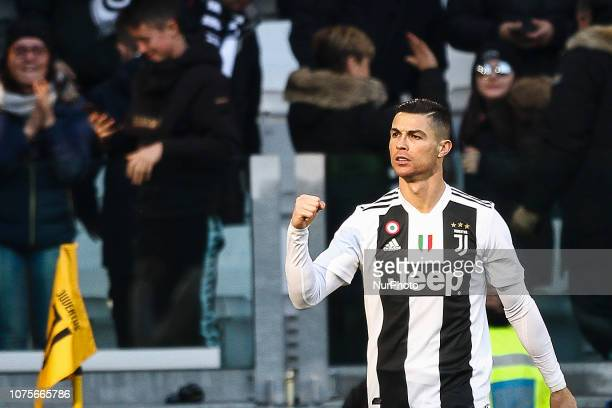 Juventus forward Cristiano Ronaldo celebrates after scoring his goal during the Serie A football match n19 JUVENTUS SAMPDORIA on at the Allianz...