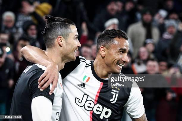 Juventus forward Cristiano Ronaldo celebrates with Juventus defender Danilo after scoring his goal to make it 1-0 during the Coppa Italia quarter...