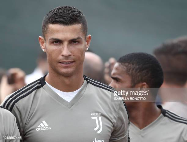 Juventus' forward Cristiano Ronaldo is seen prior to the friendly football match between Juventus A and Juventus B at Villar Perosa on August 12 2018...