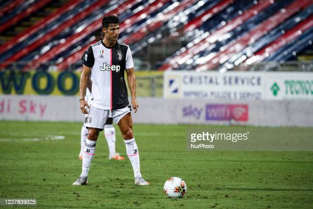 Juventus forward Cristiano Ronaldo prepares to shoot the ball from a free kick during the Serie A football match n.37 between Cagliari and Juventus...