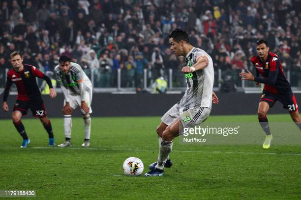 Juventus forward Cristiano Ronaldo scores his goal to make it 2-1 by penalty kick during the Serie A football match n.10 JUVENTUS - GENOA on October...