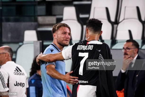 Juventus forward Cristiano Ronaldo talks with Lazio forward Ciro Immobile during the Serie A football match n.34 JUVENTUS - LAZIO on July 20, 2020 at...
