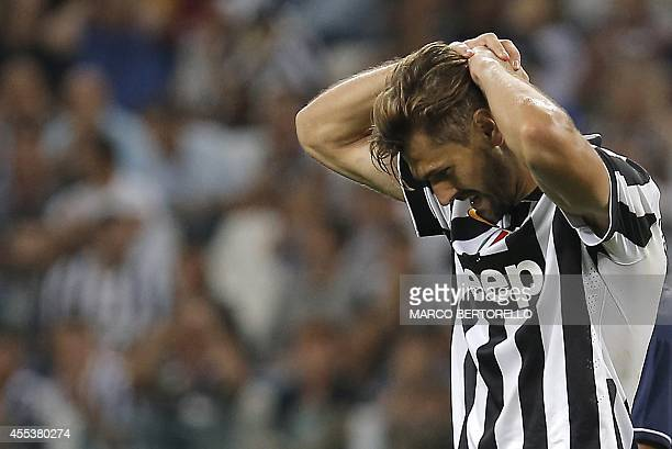 Juventus' forward Fernando Llorente reacts during the Italian Serie A football match Juventus vs Udinese on September 13 2014 at Juventus Stadium in...
