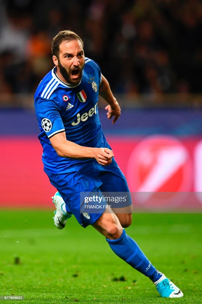 Juventus forward from Argentina Gonzalo Higuain reacts after scoring the team's first goal during the UEFA Champions League semi-final first leg football match Monaco vs Juventus at the Stade Louis II stadium in Monaco on May 3, 2017. /