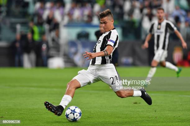 Juventus' forward from Argentina Paulo Dybala controls the ball during the UEFA Champions League semi final second leg football match Juventus vs...