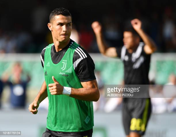 Juventus' forward from Portugal Cristiano Ronaldo warms up prior to the Italian Serie A football match AC Chievo vs Juventus at the...